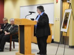 Cynthia Seaman congratulates and inspires inductees.