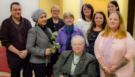 Phi Theta Kappa Alpha Sigma Rho Officers and Advisers Pictured with Dr. Anna Weitz and Dr. Susan Looney. Front Row: Dr. Anna Weitz and Kristy Whitekettle. Middle Row: Yusra Salim, Dr. Donna Singleton, Danelle Bower. Back Row: Tyler Baer, Dr. Susan Looney, Amie Croteau, Gabrielle Lewis